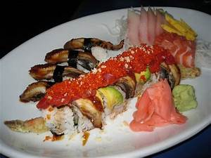 Red Dragon Roll, eel sushi, hamachi, salmon, and tamago ...