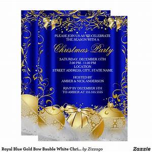 Royal Blue Gold Bow Bauble White Christmas Party Card