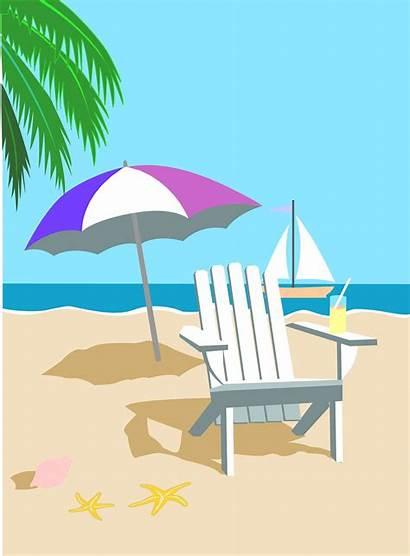 Beach Cartoon Clipart Cliparts Clip Background Hawaiian