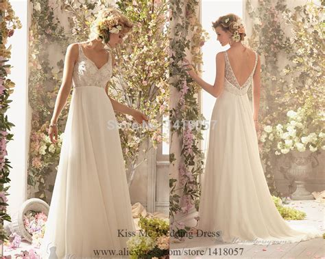 Cheap Vintage Wedding Dresses Embellished Summer Beach