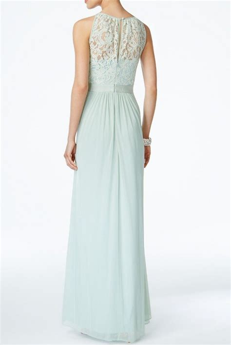 adrianna papell lace illusion halter gown dress mint poshare