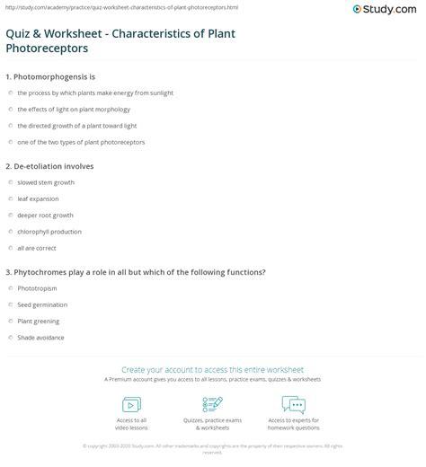 quiz worksheet characteristics  plant photoreceptors