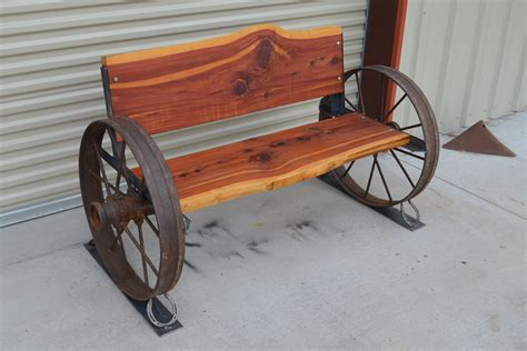 wagon wheel bench sycamore creek creations rustic ranch style home decor