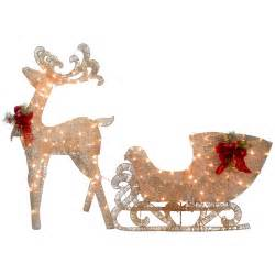 national tree co reindeer and santa s sleigh with led lights decoration reviews