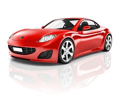 3d Red Sport Car On White Background Stock Illustration