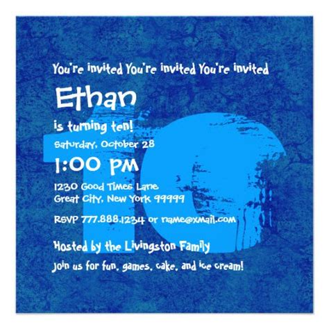 FREE Printable 10 Year Old Birthday Invitations FREE