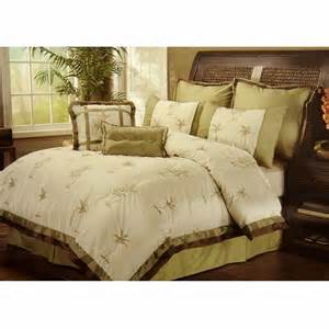 8pc selma ivory palm tree embroidered faux silky tropical comforter set queen ebay