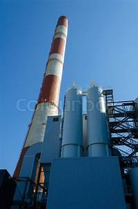 Perspective view of chimney of thermal power plant ...