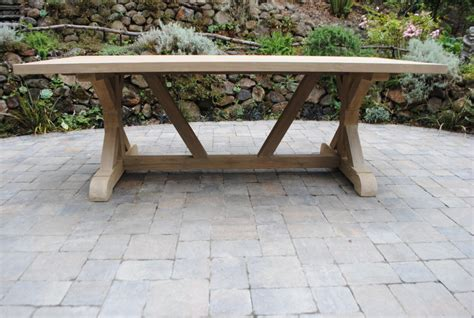 tuscany collection reclaimed teak trestle base table
