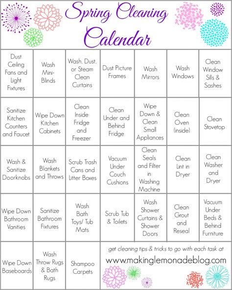 cleaning calendar template