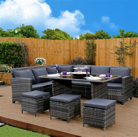9 seat rattan corner sofa and dining set in mixed grey