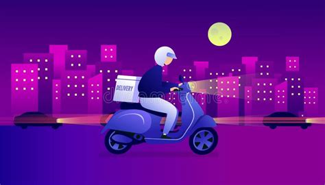 Night Food Delivery Service By Scooter With Courier. Man ...