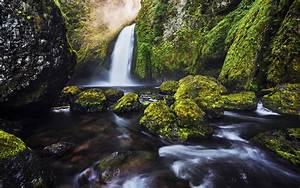 Green, Moss, Waterfall, 4k, Wallpapers