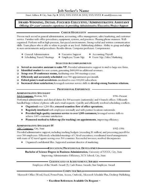 administrative assistant resume great administrative assistant resumes administrative
