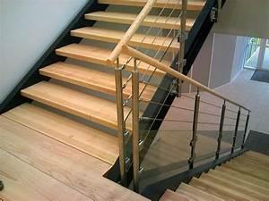 Cable Garde Corps : garde corps 3 cables et verre avec main courante en bois escalier pinterest main courante ~ Voncanada.com Idées de Décoration