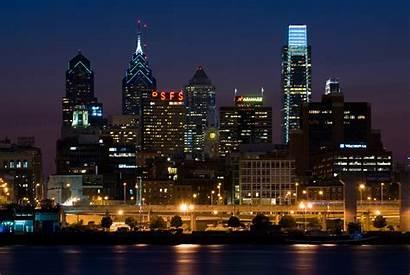Philadelphia Skyline Cities America Pa Night Philly
