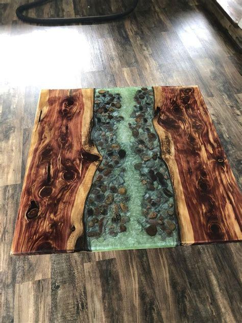 gorgeous  edge cedar river table resin coffee stone