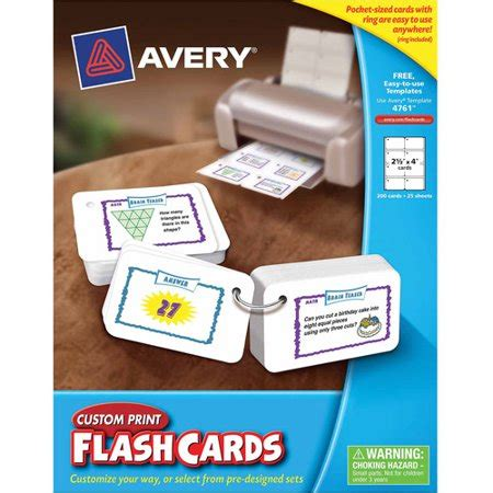 Avery 04760 Printable Flash Cards 2 1 2 X 4 White 8 Avery Printable Flashcards With Ring 2 5 Quot X 4 Quot 200 Count