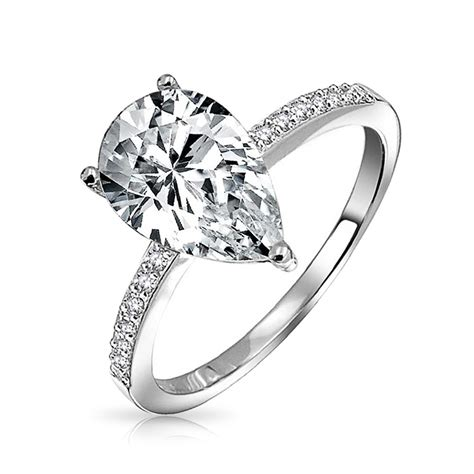 Pear Shaped   Cacz Solitaire En Ement Ring   Ee  Silver Ee