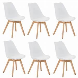lot de 6 chaises de salle manger scandinave simili cuir blanc pieds bois  cds10201 d coshop26. lot de 6 chaises scandinave cielterre commerce. ad2c5dd6e843