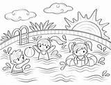 Museprintables Basenie Sommer Colorin Sonnenschein Zeichnen Kolorowanka Coloringforkids Zwembaden sketch template