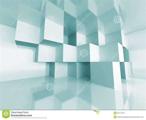 abstract cube design room interior architecture background
