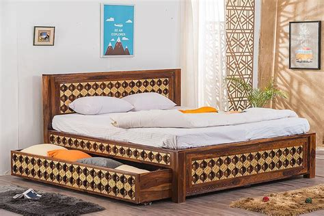 buy solid wood brass bed   trolley storage