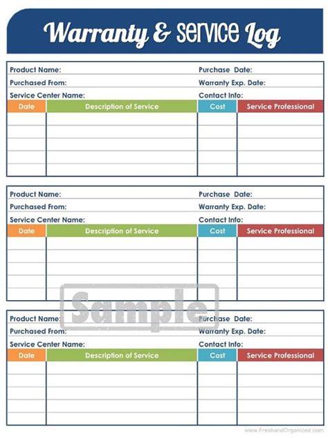 warranty  service log printable  editable