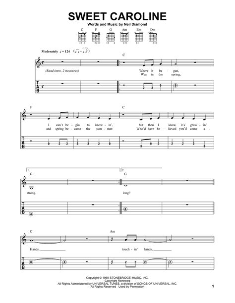 sweet caroline sheet neil easy guitar tab