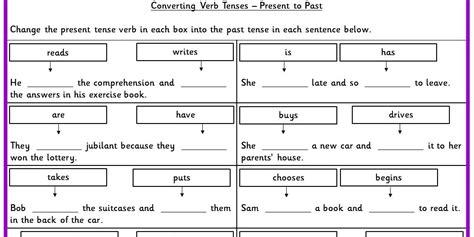 irregular  tense verbs ks converting verb tenses