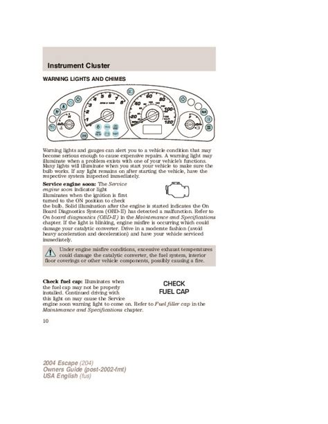 ford escape owners manual
