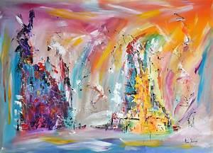 Tableau Contemporain Grand Format : tableau multicolore de style abstrait grand format ~ Teatrodelosmanantiales.com Idées de Décoration