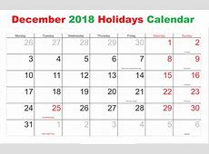 December 2018 Calendar with Holidays – Business Calendar