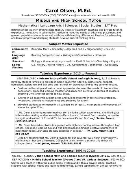 College Tutor Resume by Tutor Resume Sle