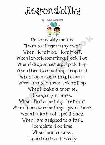 Responsibility Poem Character Writing Social Education Activities
