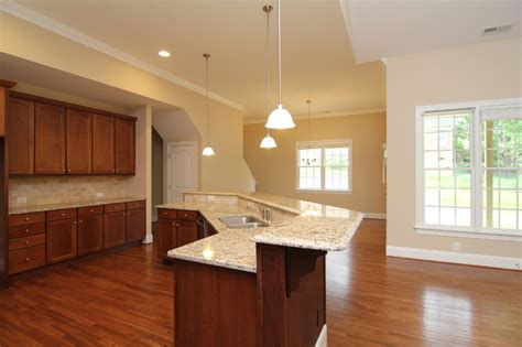 angled island layout traditional kitchen raleigh  stanton homes