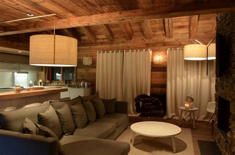 canapé style chalet modern chalet interior design cosy neve design