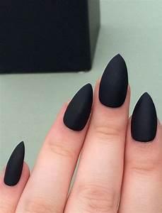 Matte black nails stiletto nails fake nails by nailsbykate ...