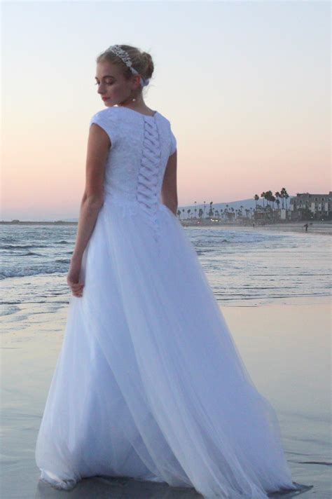 cecelia lds modest lace tulle wedding gown  sleeves