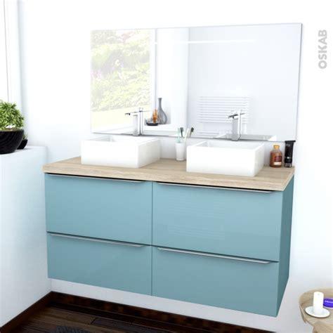ensemble salle de bains meuble keria bleu plan de toilette hosta vasque miroir lumineux