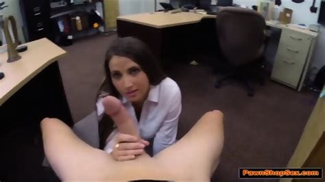 Brunette Waitress Gives Pawnshop Owner A Handjob For Tips