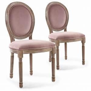 Chaise Louis Xvi : lot de 2 chaises louis xvi bois patin velours rose achat vente chaise rose soldes d s ~ Teatrodelosmanantiales.com Idées de Décoration