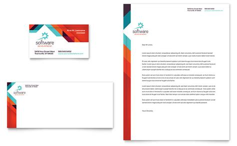 Company Stationery Template Pages by Application Software Developer Business Card Letterhead