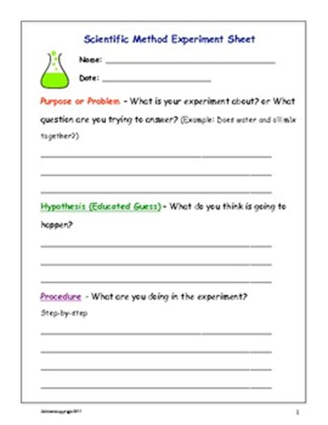 scientific method fill in sheets by science is tpt