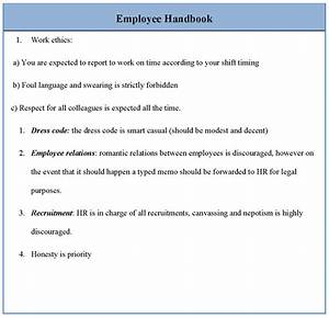 Staff Policy Template Employee Template For Handbook Sample Of Employee Handbook Template Sample Templates