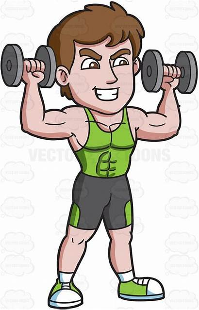 Cartoon Clipart Lifting Weight Carrying Dumbbells Happy