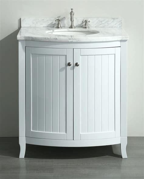 30 inch White Bathroom Vanity White Carrera Marble Top