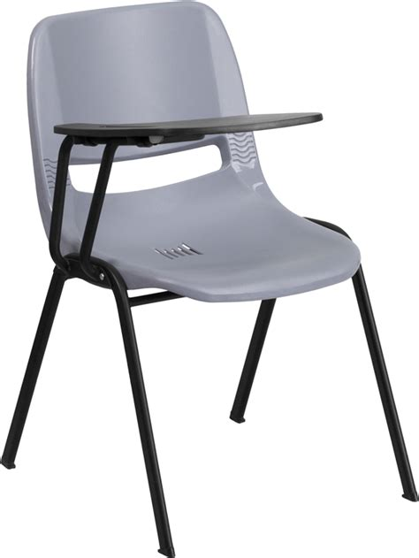 gray ergonomic shell chair with right handed flip up
