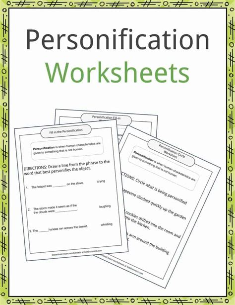 personification exles definition and worksheets
