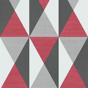 Papier Peint Motif Geometrique : papier peint g om trique triangles rouge et gris ~ Dailycaller-alerts.com Idées de Décoration